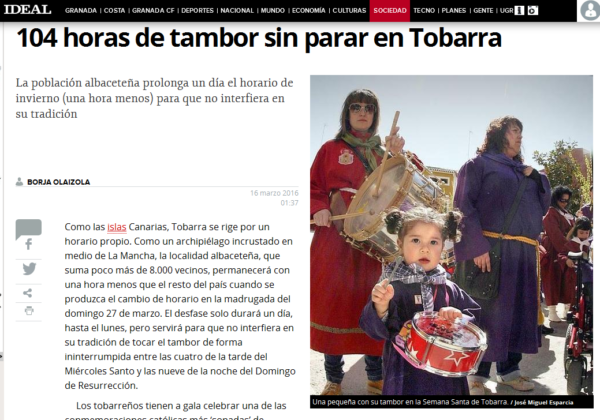Noticia cambio de hora Tobarra