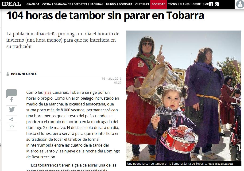 Noticia cambio de hora Tobarra