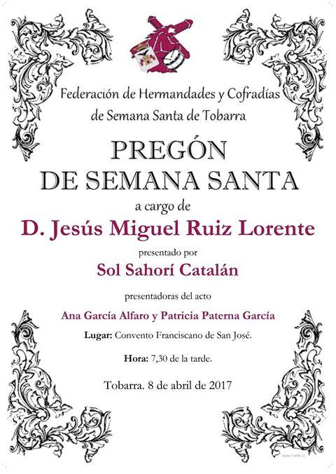 Cartel Pregón Semana Santa Tobarra 2017